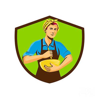 Mixing Bowls Digital Art - Female Chef Bandana Mixing Bowl Crest Retro by Aloysius Patrimonio