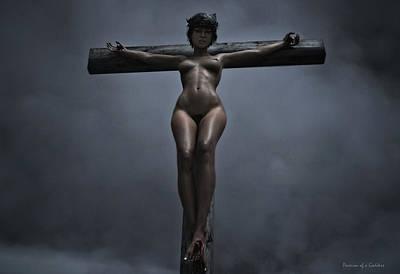 Crown Of Thorns Digital Art - Female Crucifix In The Night V I by Ramon Martinez