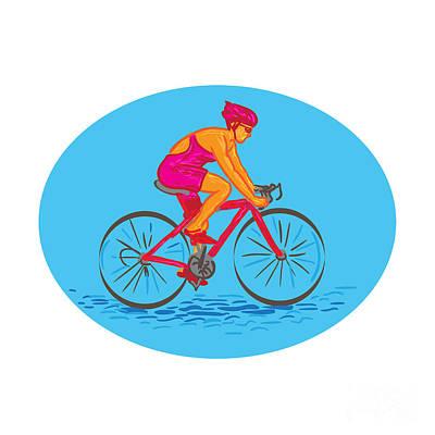 Triathlete Digital Art - Female Cyclist Riding Bike Drawing by Aloysius Patrimonio