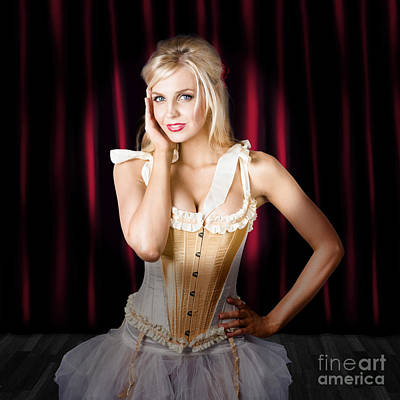 Corset Photograph - Female Dancer In Theatre Spot Light. Act Of Dance by Jorgo Photography - Wall Art Gallery