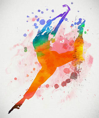 Painting - Female Dancer Paint Splatter by Dan Sproul