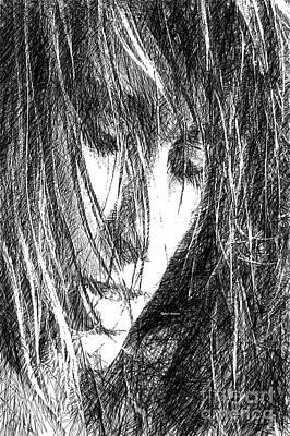 Digital Art - Female Drawing Sketch by Rafael Salazar