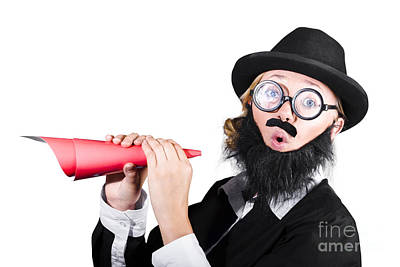 Loud Photograph - Female Dressed As A Man Holding Paper Megaphone by Jorgo Photography - Wall Art Gallery