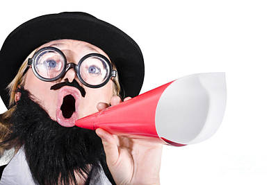 Female Dressed As A Man Shouting Through Megaphone Art Print by Jorgo Photography - Wall Art Gallery