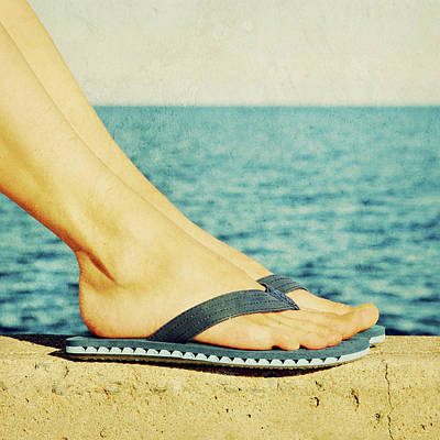 Young Girl Photograph - Female Feet In Blue Flip-flops, Retro Image by GoodMood Art