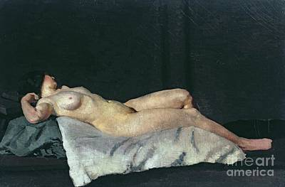 By Women Painting - Female Figure Lying On Her Back by Dora Carrington
