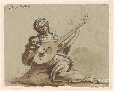 Female Figure With A Lute Art Print by Celestial Images