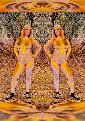 Provocative Photograph - Female - Gold Godlings Forever Nurture Forest 2014 by James Warren