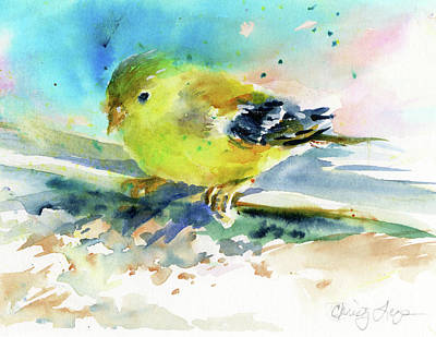 Painting - Female Goldfinch by Christy Lemp