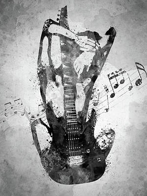Music Digital Art - Female Guitarist White and Black by Aged Pixel