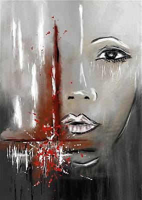 Female Half Face On Grey Abstract Art Print