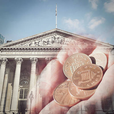 Photograph - Female Hand Hold Five Pennies On Facade Of The Royal Exchange by Jacek Wojnarowski