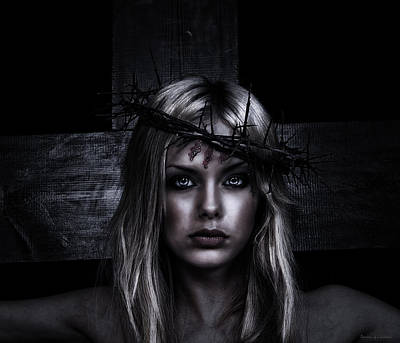 Hdr Effects Photograph - Female Jesus Portrait In Dark Color by Ramon Martinez