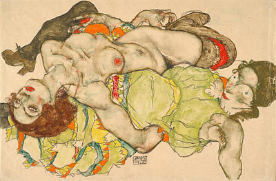 Creative Lovers Art Drawing - Female Lovers, 1915 by Egon Schiele