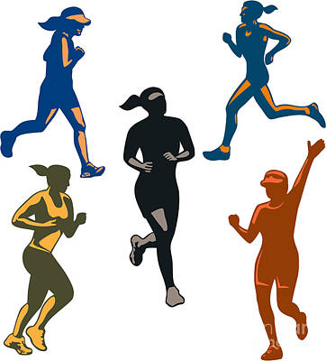 Jogging Digital Art - Female Marathon Runners Retro Set by Aloysius Patrimonio