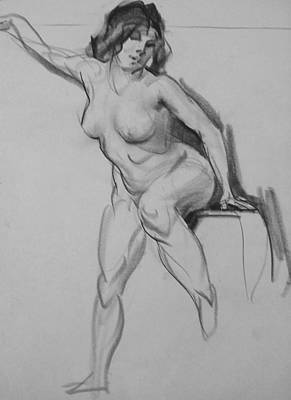 Drawing - Female Model, Twisting Pose by Robert Holden