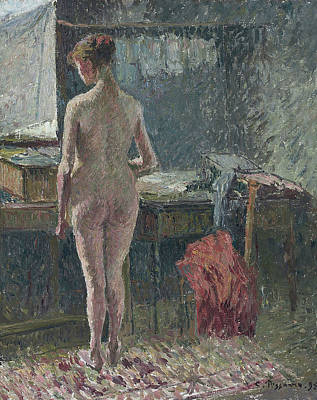 Plump Women Wall Art - Painting - Female Nude At The Interior, 1895 by Camille Pissarro