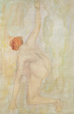 Rear View Drawing - Female Nude by Auguste Rodin