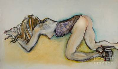 Painting - Female Nude - Begging Beth by Carolyn Weltman