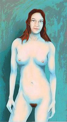 Art Print featuring the painting Female Nude Blue With Red Hair by G Linsenmayer
