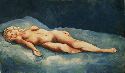 Painting -  Female Nude Brigit Reclining With Blue by G Linsenmayer