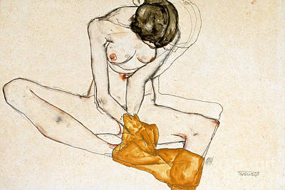 On Paper Painting - Female Nude by Egon Schiele