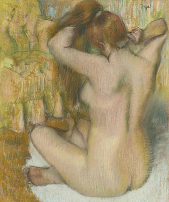 Pastel - Female Nude From The Back by Edgar Degas