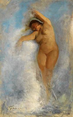 Oceanid Painting - Female Nude In The Foam Of A Wave. Oceanid by Wilhelm Truebner