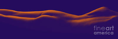 Female Nude Laying Flat With Beautiful Contours In Orange Violet - 3022cr Art Print by Cee Cee - Nude Fine Arts