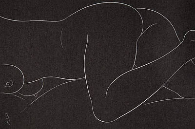 Black Sex Drawing - Female Nude Lying by Eric Gill