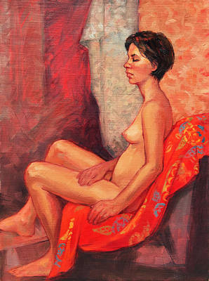 Painting - Female Nude On Red by Roz McQuillan