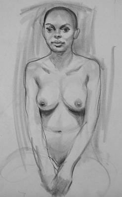Drawing - Female Nude Portrait Drawing  Front View by Robert Holden