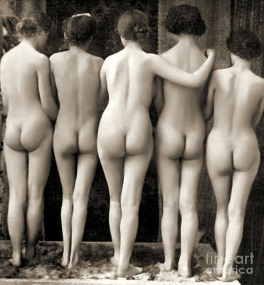 Female Nude Quintet Art Print by French School