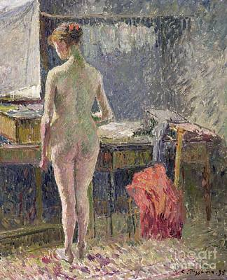 Female Nude Seen From The Back Art Print by Camille Pissarro