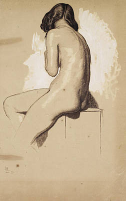 Drawing - Female Nude - Study From Behind by William Holman Hunt