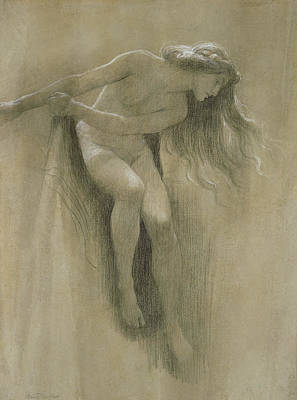 Etching Pastel - Female Nude Study  by John Robert Dicksee