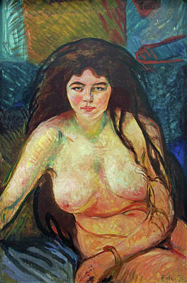 Undressed Painting - Female Nude, The Beast by Edvard Munch