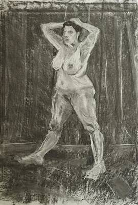 Female Nude Using Chalk And Charcoal Original