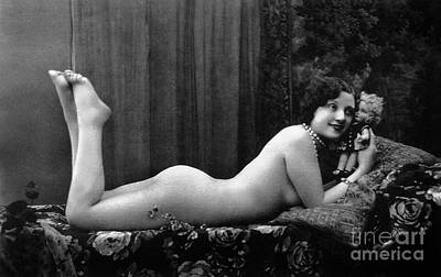 Photograph - Female Nude Vintage Erotic Photo by French School
