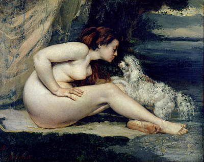 By Women Painting - Female Nude With A Dog by Gustave Courbet