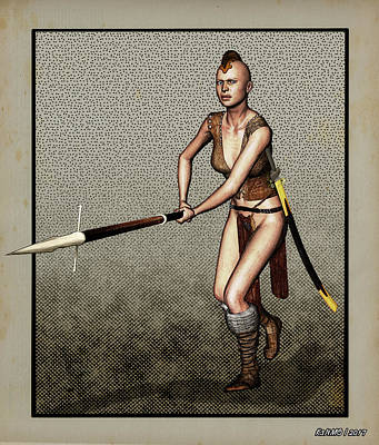 Digital Art - Female Pike Guard - Warrior by Ken Morris