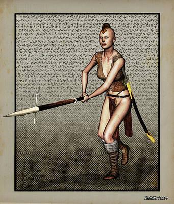 Digital Art - Female Pike Guard - Warrior by Ken Morris