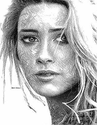 Digital Art - Female Portrait Sketch Drawing 1508 by Rafael Salazar