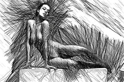 Digital Art - Female Pose For Studio Drawing 1447 by Rafael Salazar