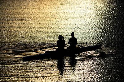 Female Rowers On Sunset Lake Art Print