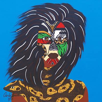 Indian Tribal Art Painting - Female Shaman by Carla J Lawson