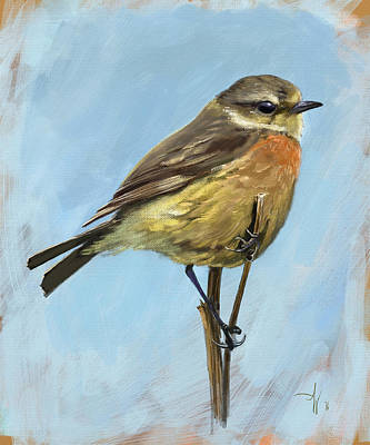 Painting - Female Stonechat by Arie Van der Wijst