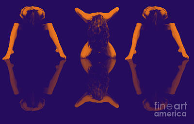 Female Symmetrical Nude Times Three In Orange Violet - 3031da Art Print by Cee Cee - Nude Fine Arts