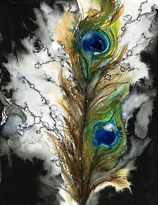 Peacocks Painting - Female by Tara Thelen - Printscapes