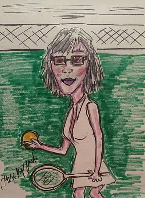 Tennis Art Drawing - Female Tennis Player  by Geraldine Myszenski